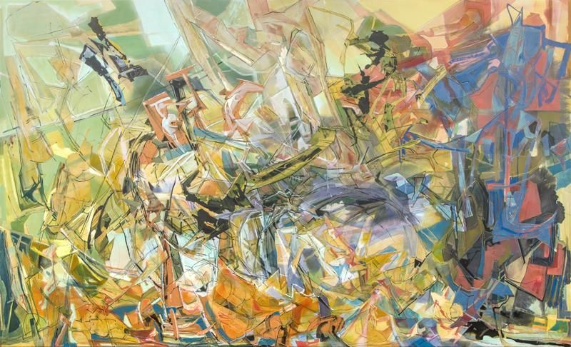 Gathered Hiss, 2013, Acrylic, collage, and oil on canvas, 72 x 120 inches, 182.9 x 304.8 cm, A/Y#21256