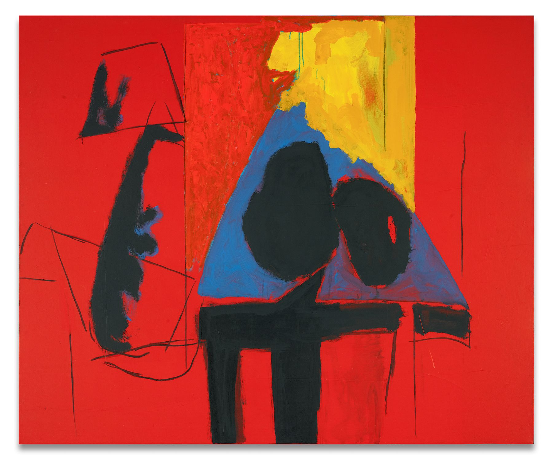 Robert Motherwell, The Studio, 1987, Acrylic and charcoal on canvas, 60 x 72 inches, 152.4 x 182.9 cm, MMG#30414,