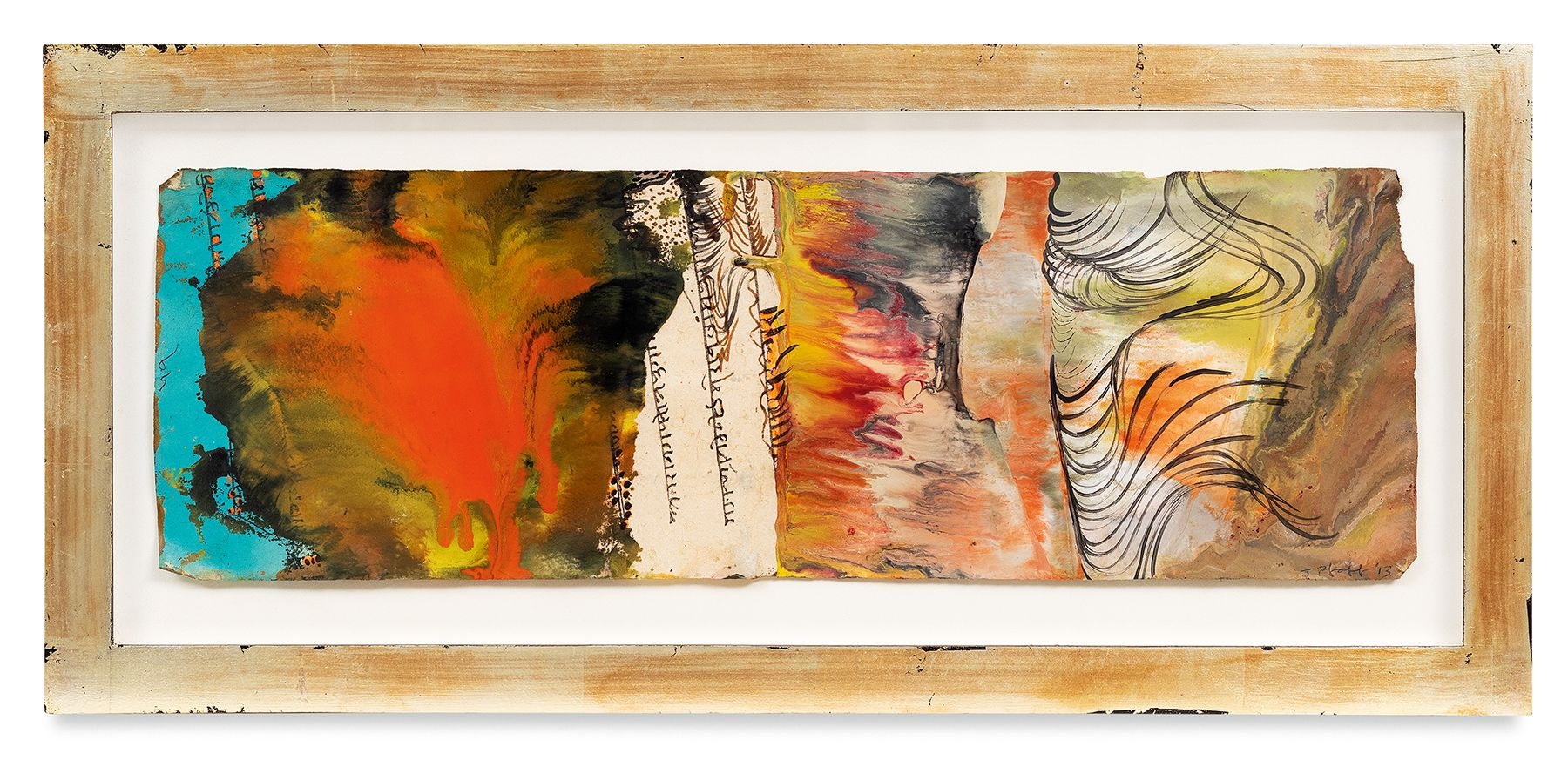 Raga 6, 2013, Oil stick, encaustic, vintage Indian paper, in artist's frame, 10 x 22 inches, 25.4 x 55.9 cm, MMG#30624