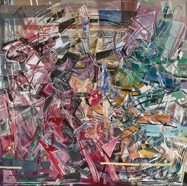 Scarlet Squall, 2012, Acrylic, collage, and oil on linen, 80 x 80 inches, 203.2 x 203.2 cm, A/Y#20647