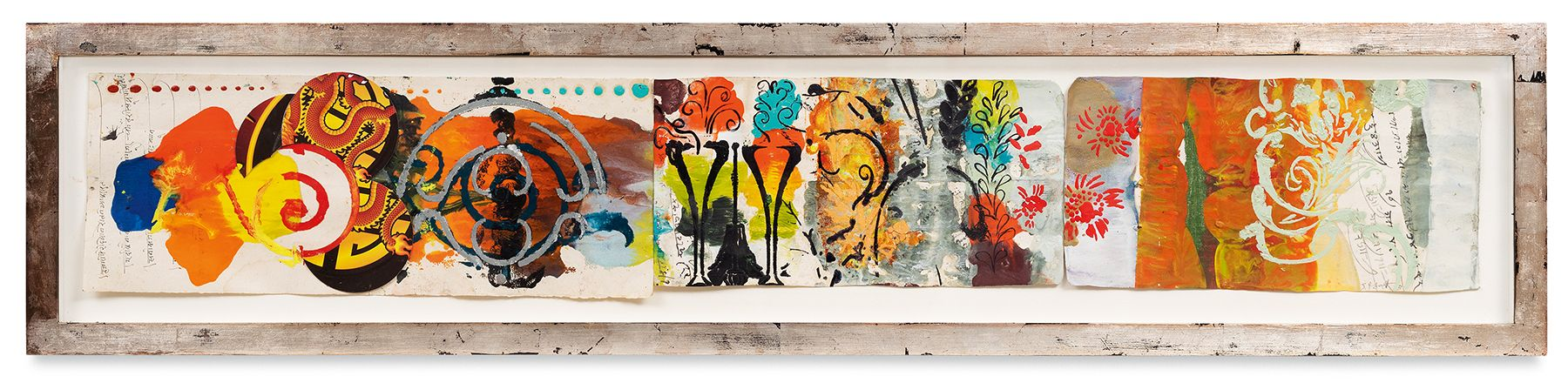 Ragamala 9 , 2013, Oil stick, encaustic, vintage Indian paper, in artist's frame, 10 x 46 inches, 25.4 x 116.8 cm, MMG#30629