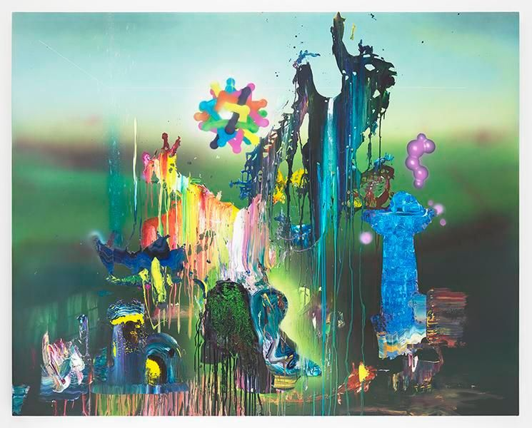 The Depths and the Shallows, 2015, Acrylic, epoxy and glitter on canvas over panel, 71 1/2 x 90 1/2 inches, 181.6 x 229.9 cm, MMG#29222