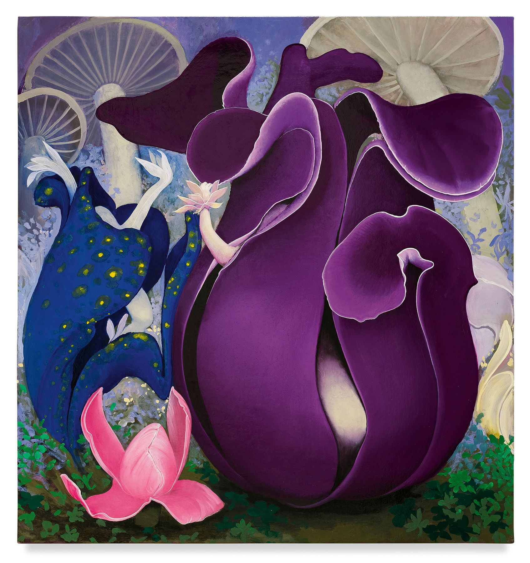 Purple Pods, 2019, Enamel on canvas, 34 x 32 inches, 86.4 x 81.3 cm,MMG#32430