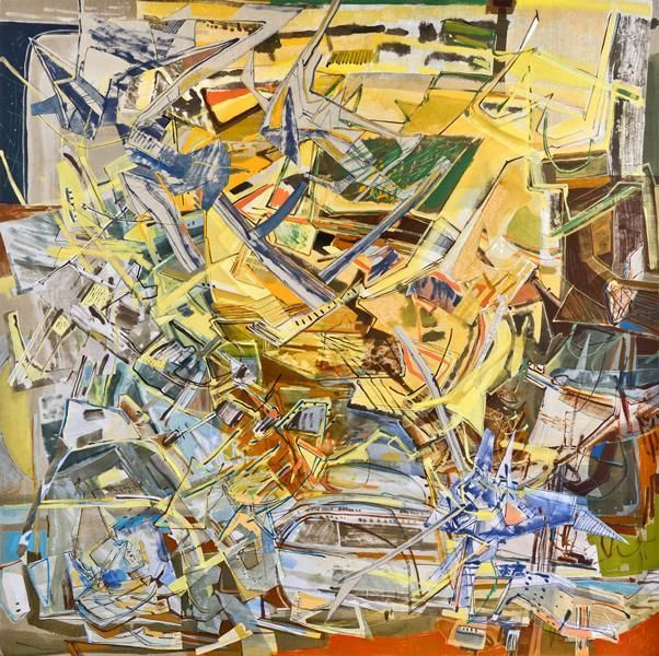 Voyages in a Stone, 2012, Acrylic, collage, and oil on linen, 80 x 80 inches, 203.2 x 203.2 cm, A/Y#20659