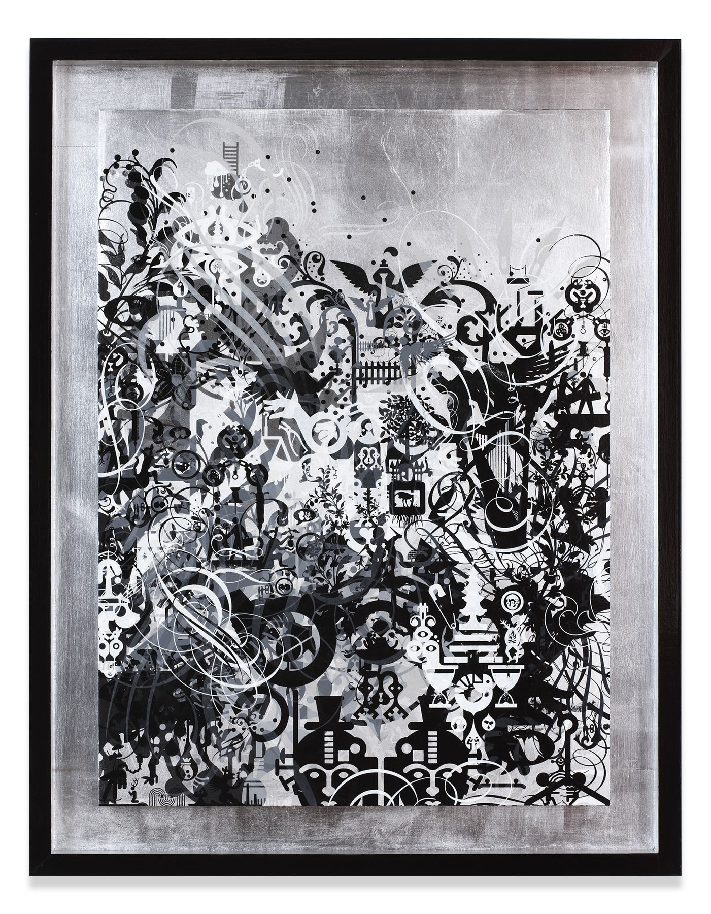 Fear Attacks Courage Waits, 2014,Oil, acrylic and metal leaf on wood panel in artist's frame,36 x 28 inches,91.4 x 71.1 cm,MMG#31353