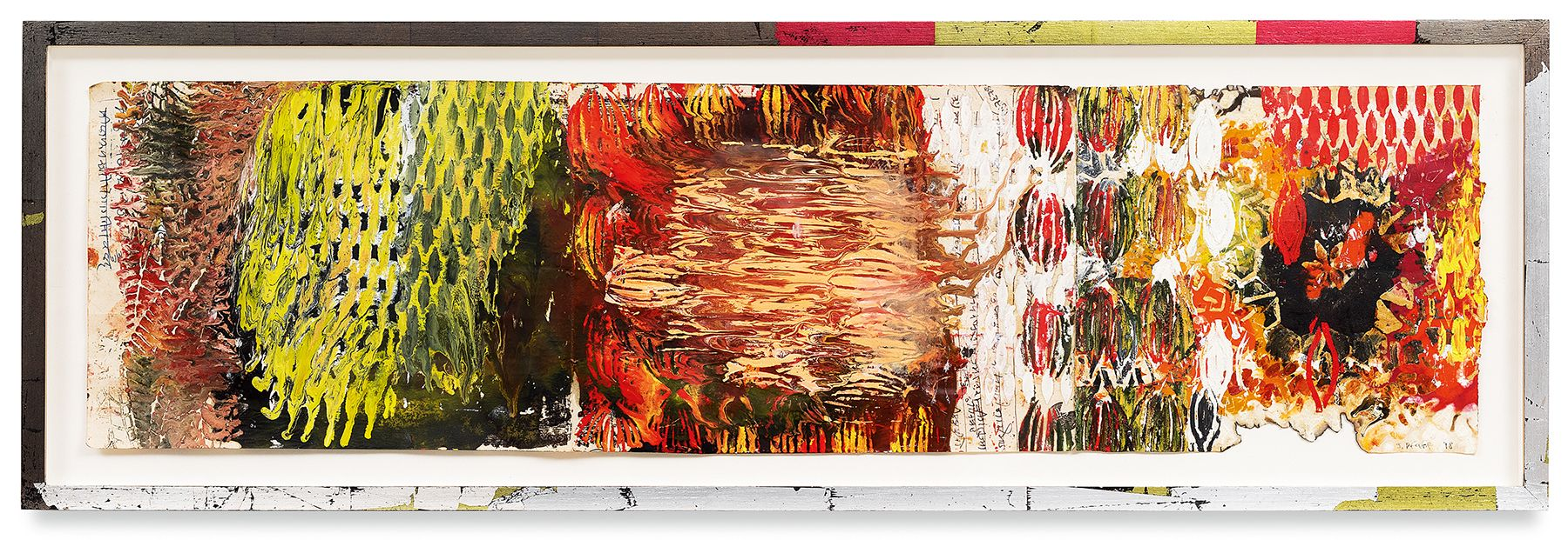 Year of the Rat 11, 2018, Vintage Indian paper, oil stick, encaustic, vintage Indian paper, in artist's frame, 13 x 40.5 inches, 33 x 102.9 cm, MMG#30608