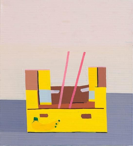 Banana Box With Pink Stripes, 2016, Oil on linen, 27.56 x 25.2 inches, 70 x 64 cm, MMG#28032