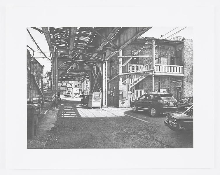 CTA tracks near Wrigley Field, 2016, Pencil on Bristol Board, 15 x 20 1/2 inches, 38.1 x 52.1 cm, AMY#28668