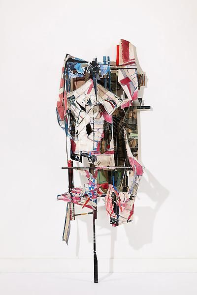 Swindler, 2013, Acrylic, oil, collage, paper, linen, muslin, wood, and wire, 90 x 34 x 23 inches, 228.6 x 86.4 x 58.4 cm, A/Y#20941