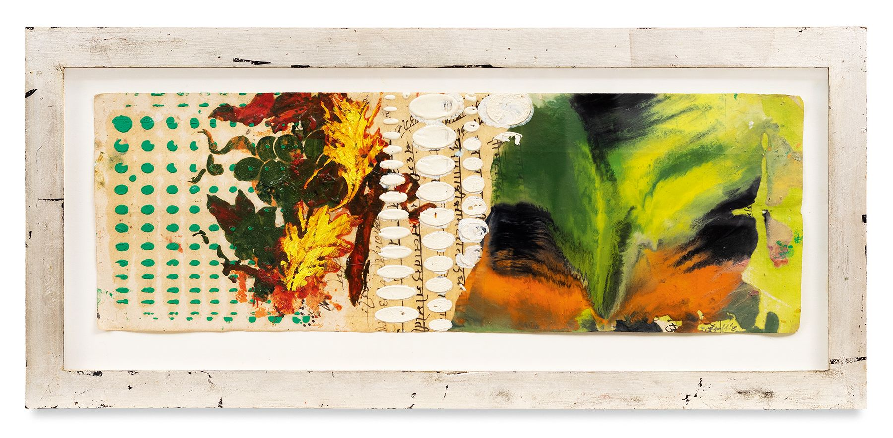 Raga 16, 2013, Oil stick, encaustic, vintage Indian paper, in artist's frame, 10 x 20 inches, 25.4 x 50.8 cm, MMG#30623