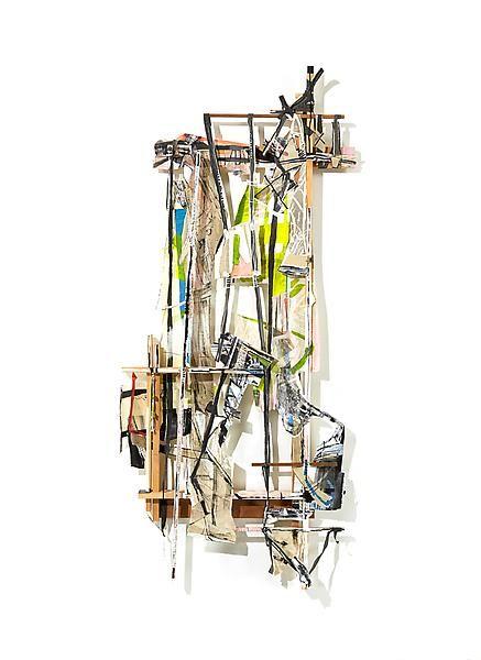 Talisman Debris: Shield, 2012, Acrylic, collage, paper, muslin, and wood, 81 x 35 x 5 inches, 205.7 x 88.9 x 12.7 cm, A/Y#20639