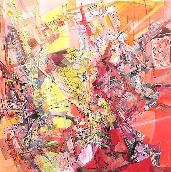 Morning View, 2013, Acrylic, collage, and oil on canvas, 80 x 80 inches, 203.2 x 203.2 cm, A/Y#21202