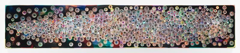 BECAUSENIGHTITISNOWANDSOON, 2016, Epoxy resin and pigments on wood, 18 x 96 inches, 45.7 x 243.8 cm, AMY#28220