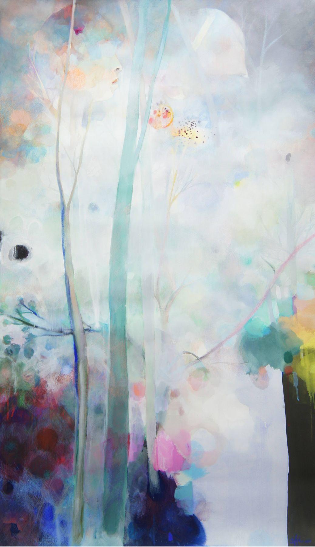 Amanda Humphries, Bush Bathing  watercolour, gouache and pencil on paper  143.5 cm x 84 cm  2018