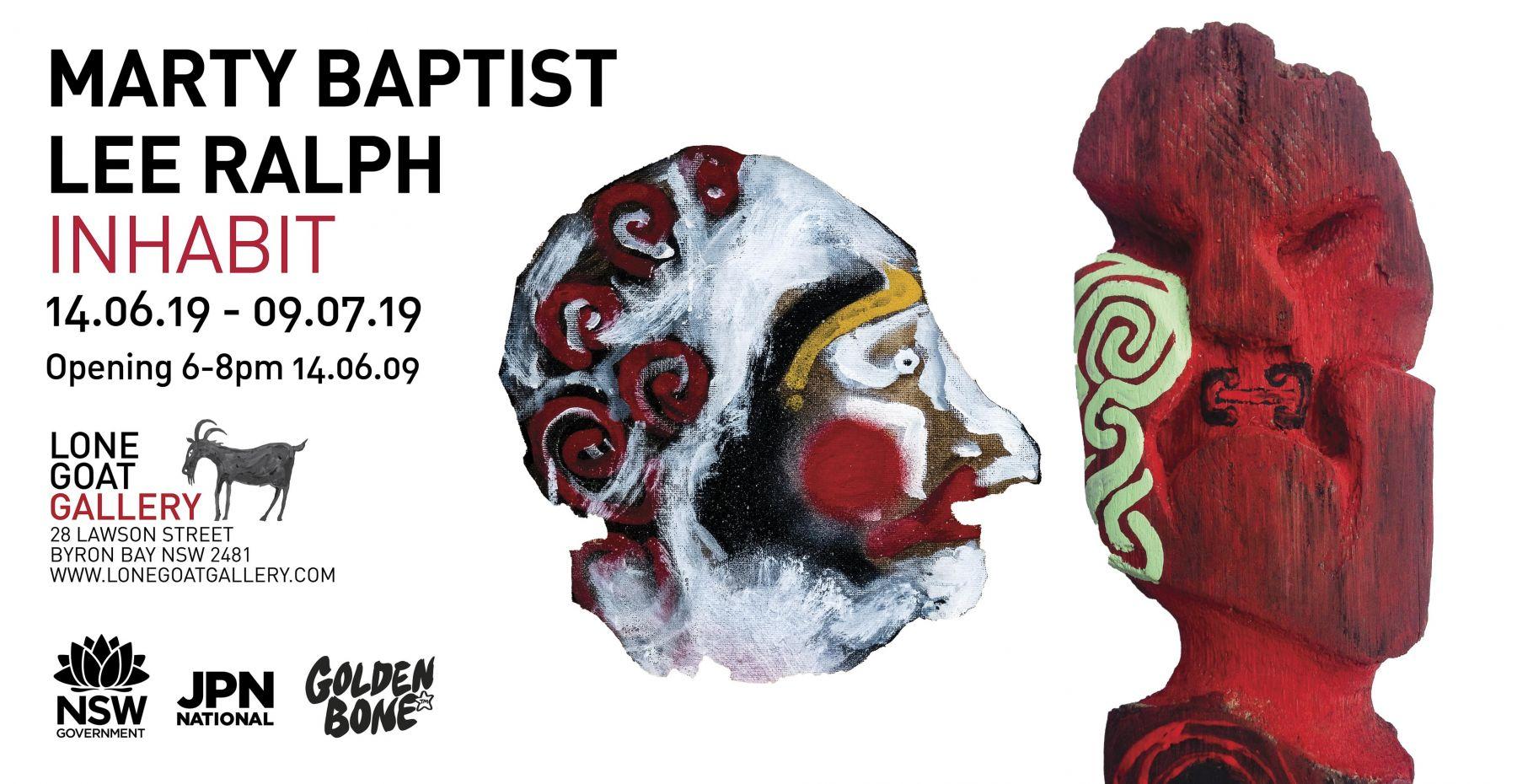 Marty Baptist & lee Ralph invitation for Inhabit exhibition