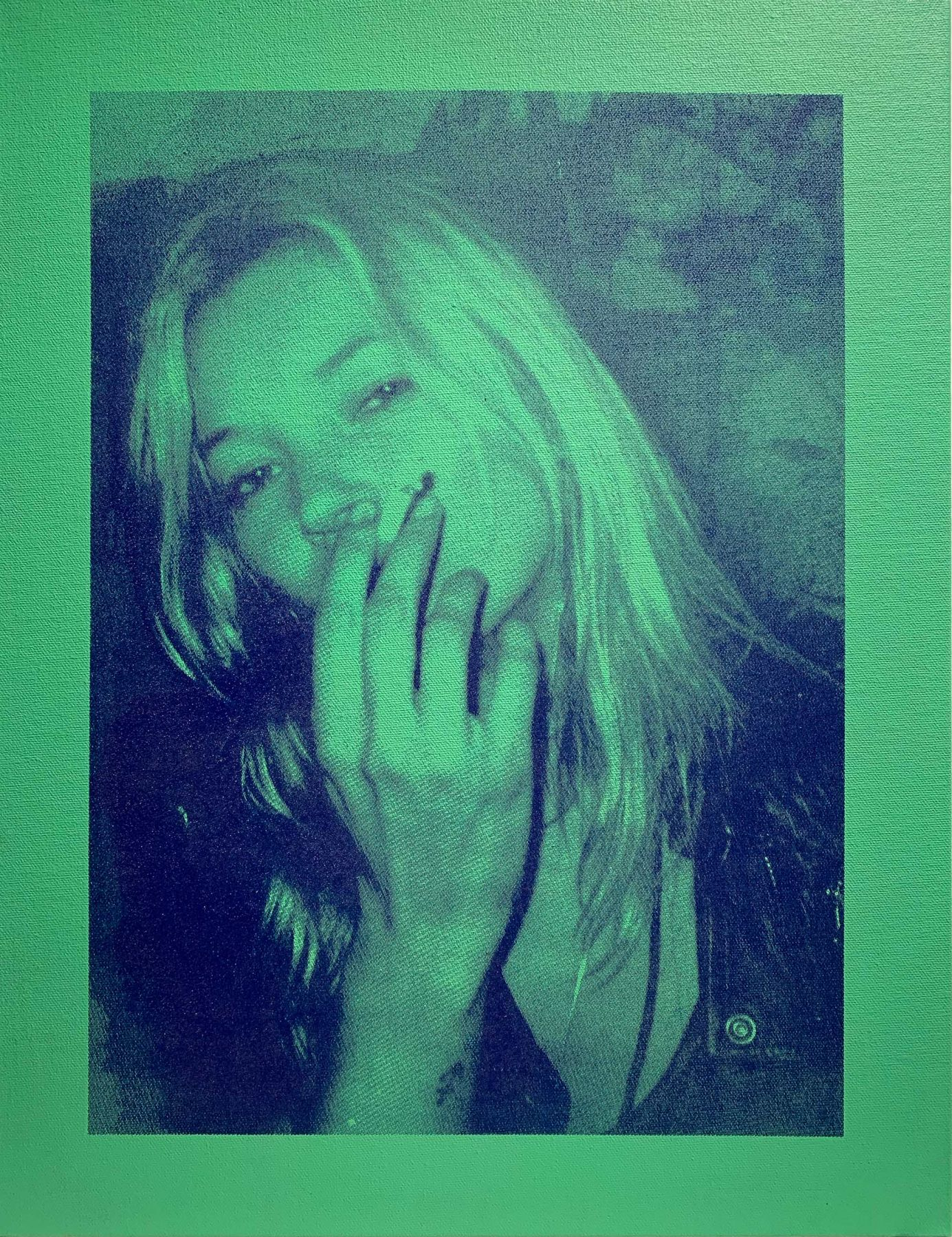 Michael Stiegler  Kate Moss Green, 2019 art from the exhibition on Bowery at Lone Goat Gallery