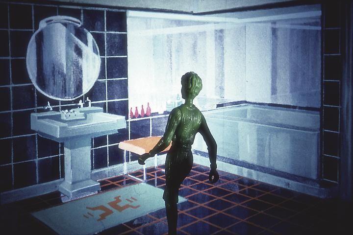 Laurie Simmons, Blue Tile Bathroom, 1983