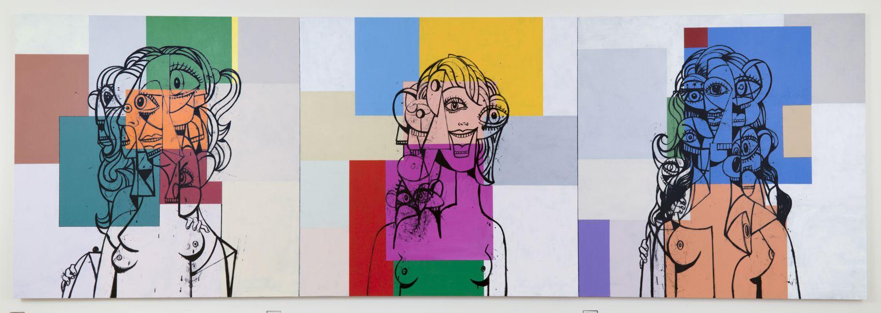 George Condo, Triple Head Composition,2017