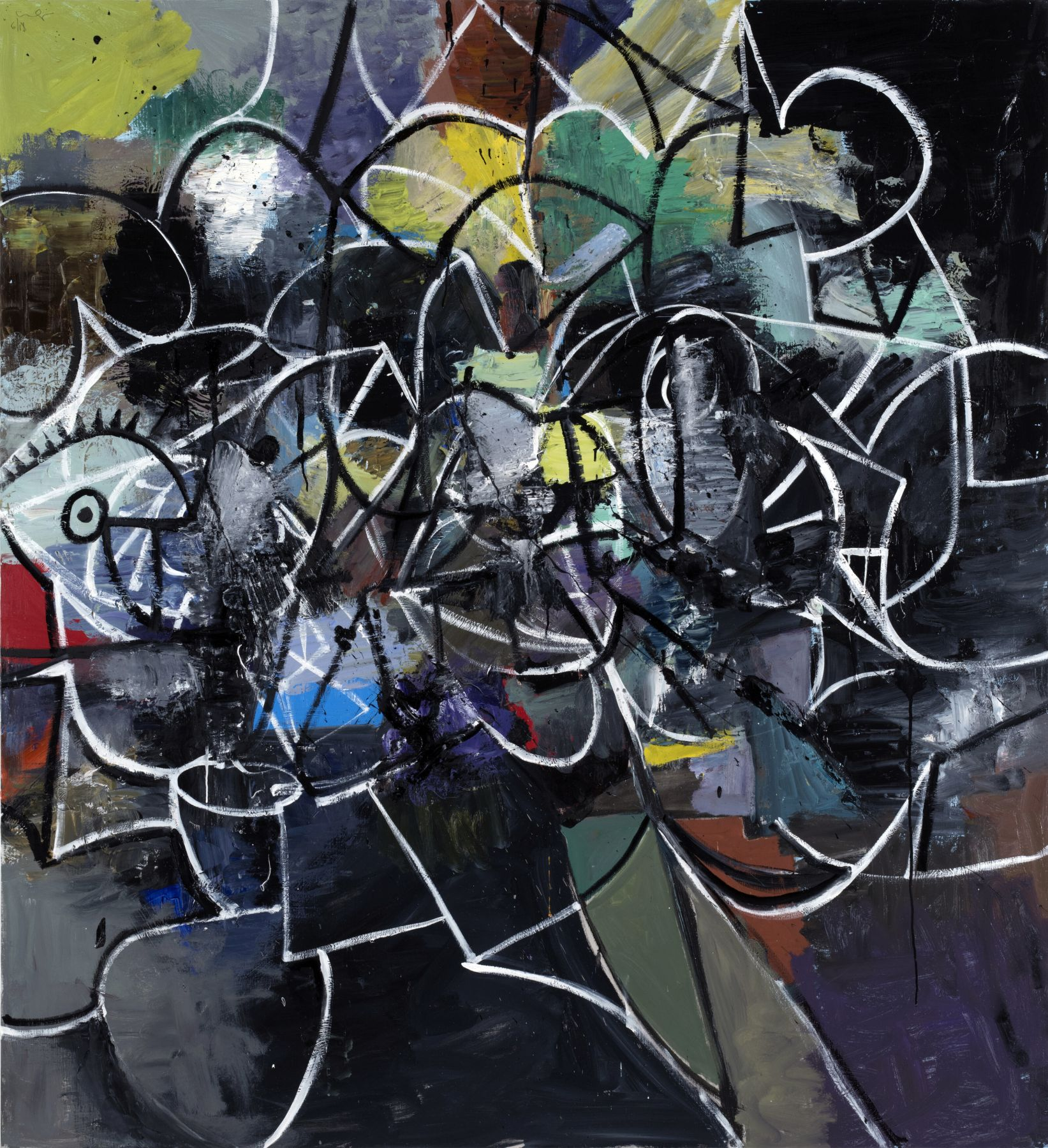 George Condo Abstract with Black and White Lines, 2018