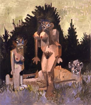 George Condo, Three Figures in a Garden,
