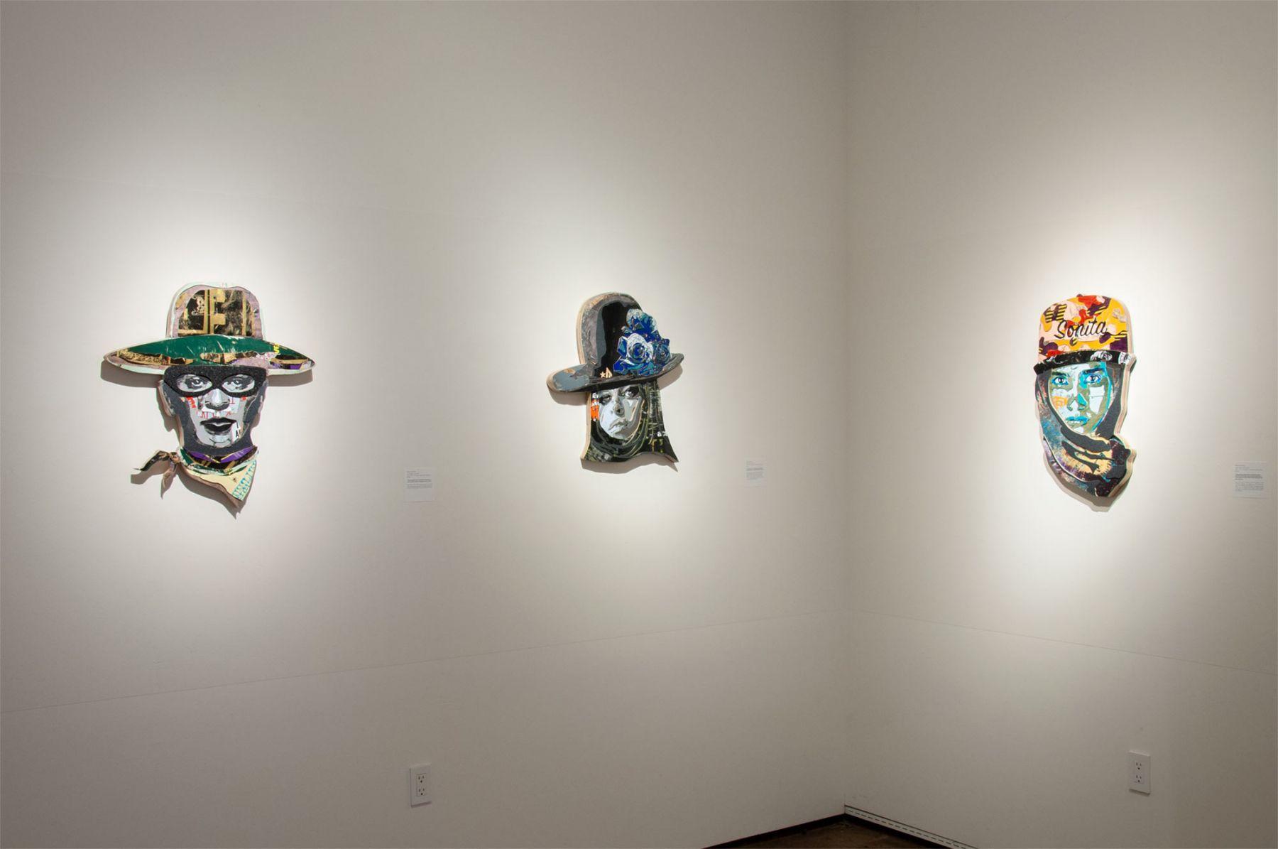 INGA GUZYTE #rebelwomen installation photograph, Frida Kahlo, Amy Winehouse, Sonita Alizadeh