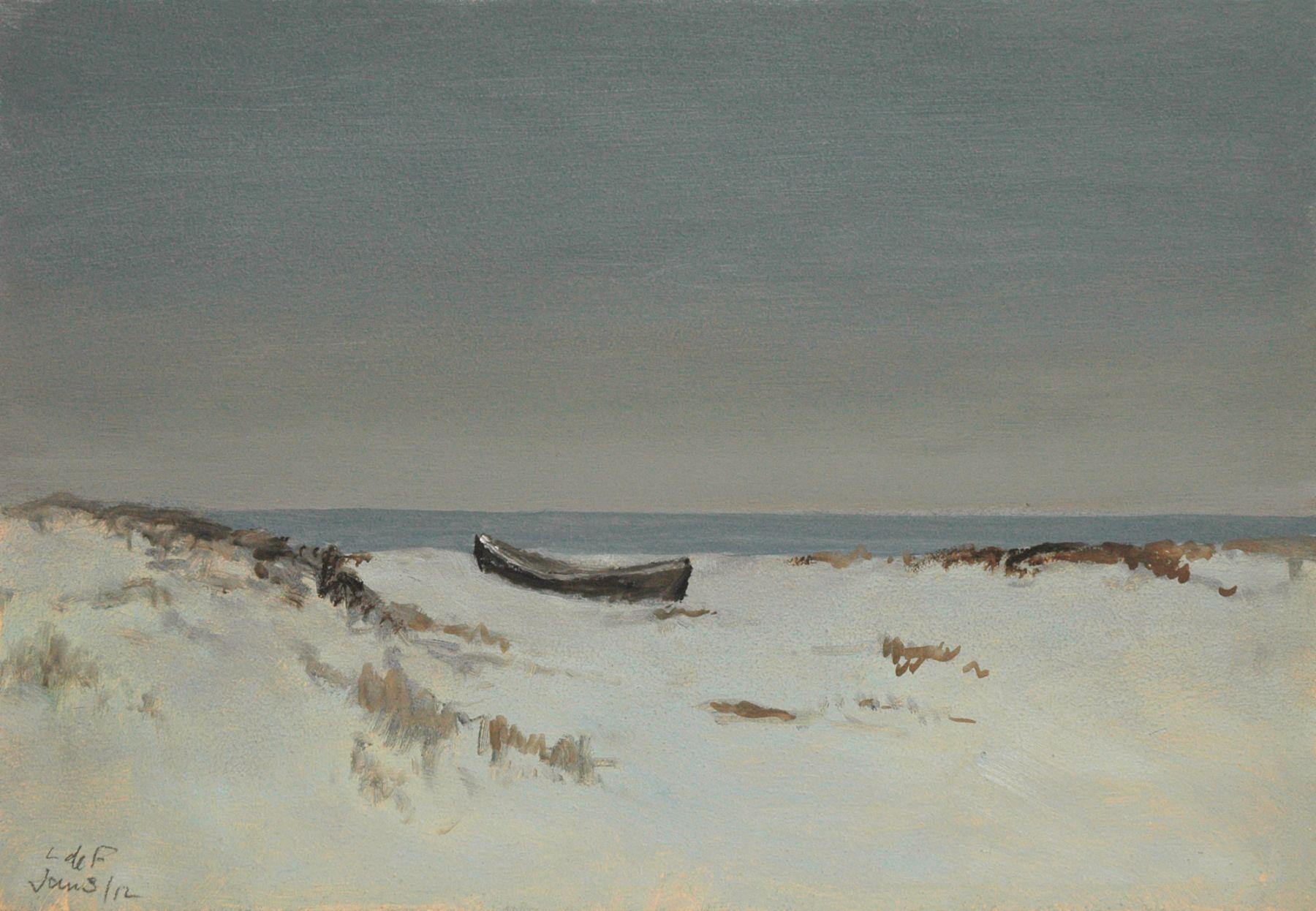 LOCKWOOD DE FOREST (1850-1932), Moonlight Over Dunes, Dory Pulled Ashore, Jan. 3, 1912