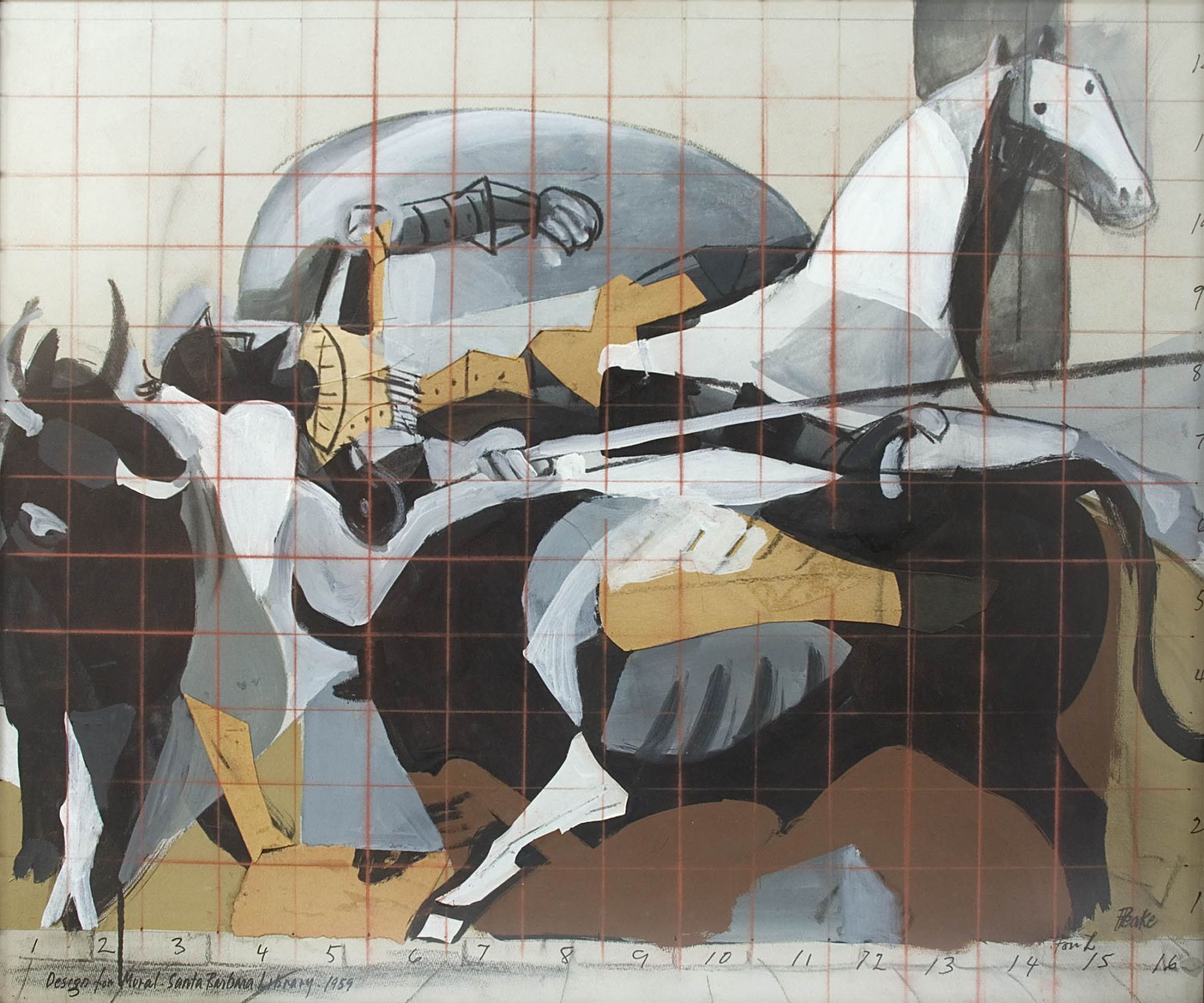 Channing Peake, Design for Mural - Santa Barbara