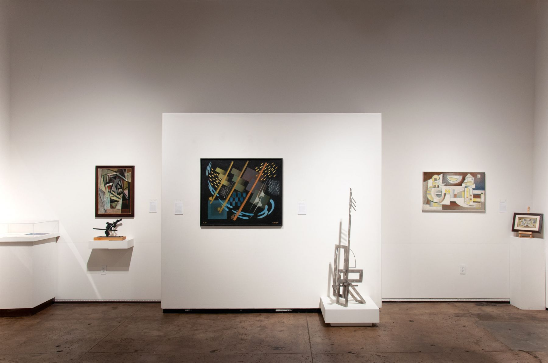 Installation photograph of CALIFORNIA BAUHAUS with Sidney Gordin, Oskar Fischinger, Ken Bortolazzo, and Werner Drewes