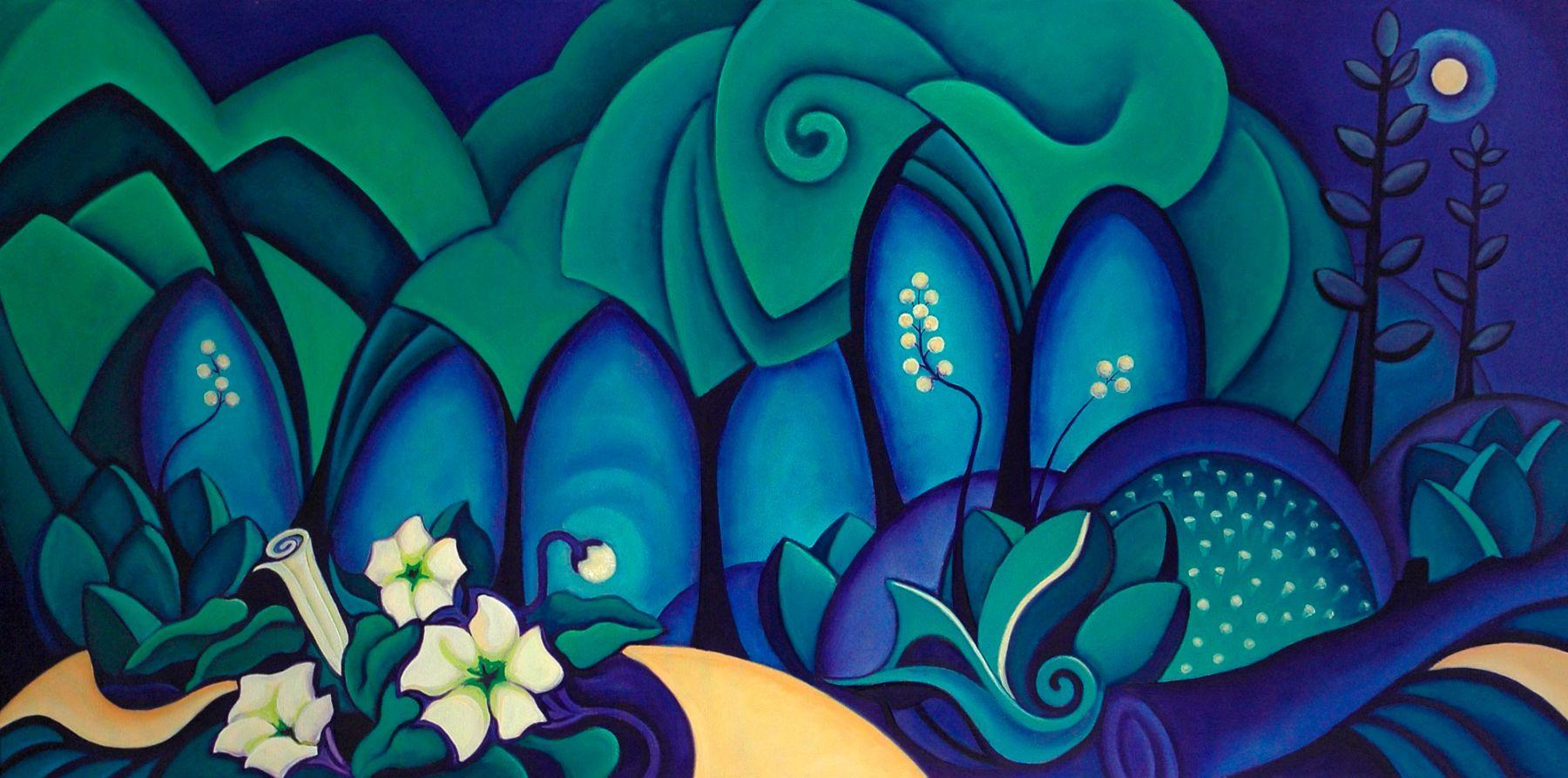 Angela Perko, Moonlit Path with Jimson Weeds, 2007