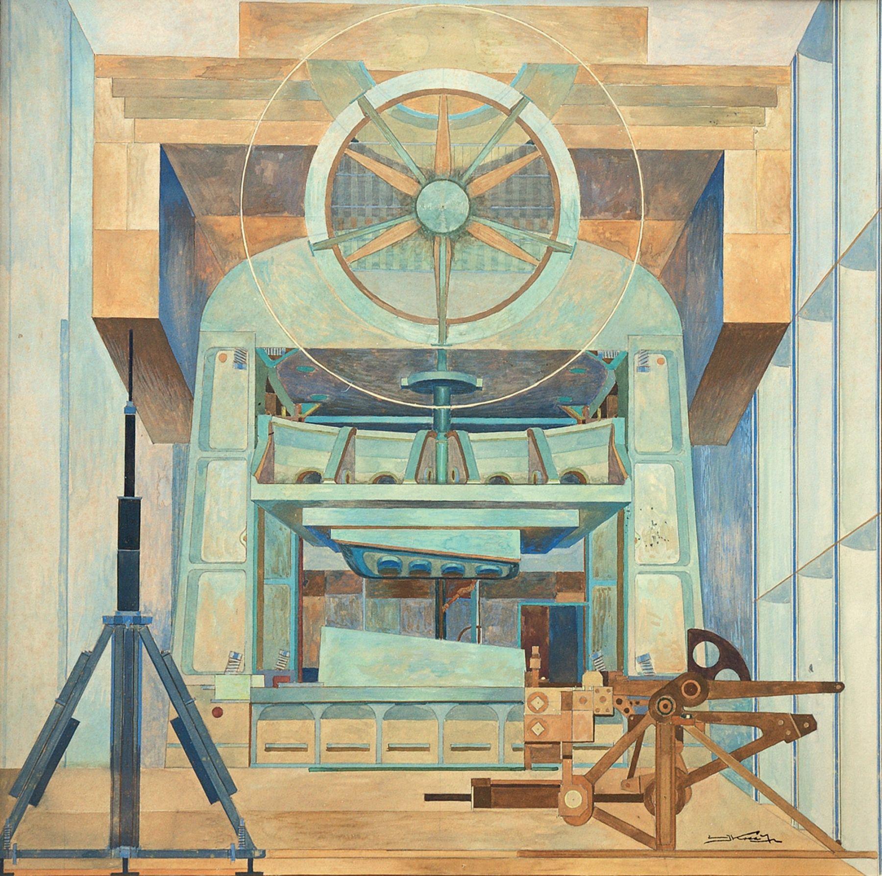 EMIL KOSA, JR. (1903-1968), Mural Study for Lockheed Aircraft Corporation, 1954