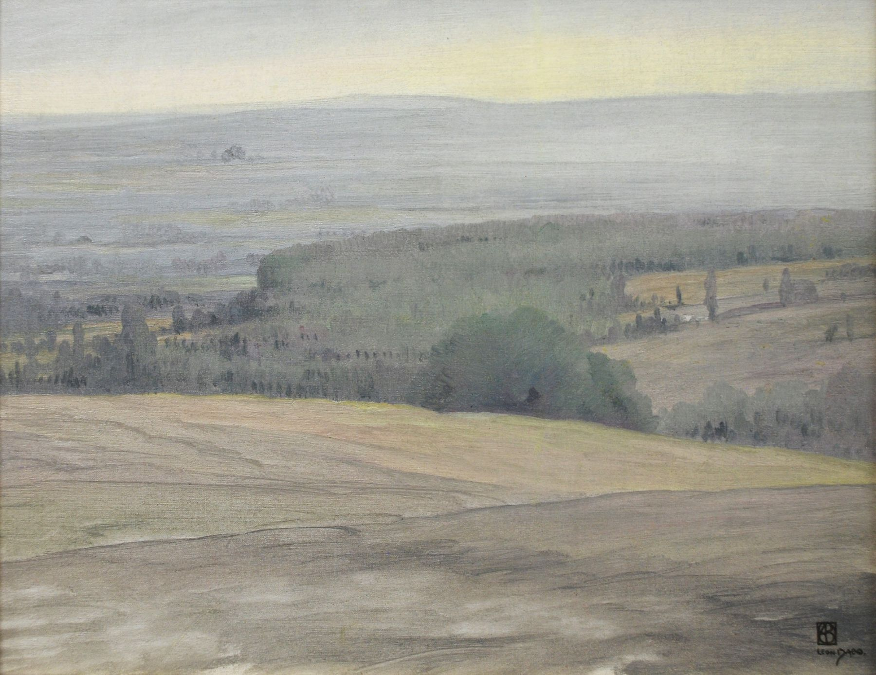 LEON DABO (1864-1960)   Inventory ID 155090  Early Evening Hudson Valley, c 1900 15.25 x 19.5 inches  |  Oil on canvas Signed lower right  Exhibited The Life & Art of Leon Dabo, 2012;   D. Wigmore Fine Art, Inc., NY, NY, 1999.  Published Leon Dabo, A Retrospective, 8  Price $35000