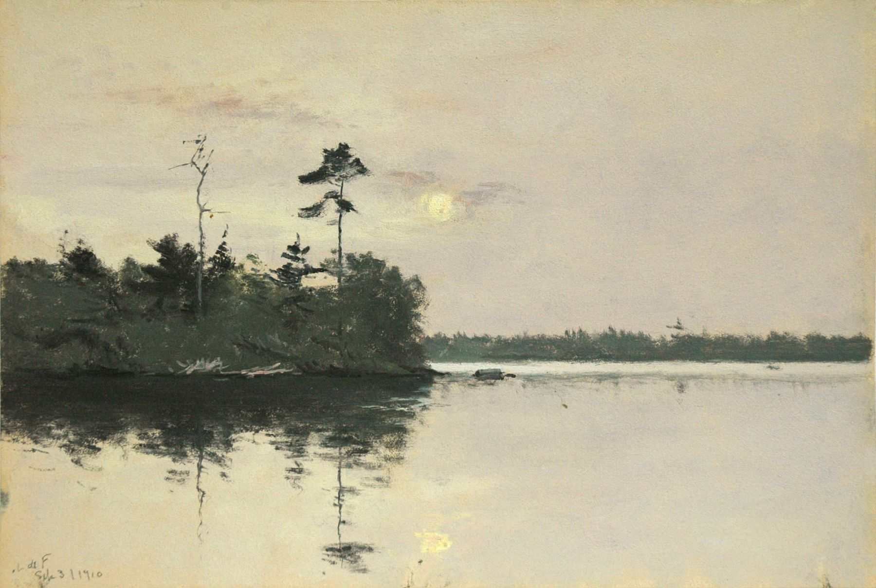 Lockwood De Forest, Daylight Full Moon with Reflection, Sept. 3, 1910.