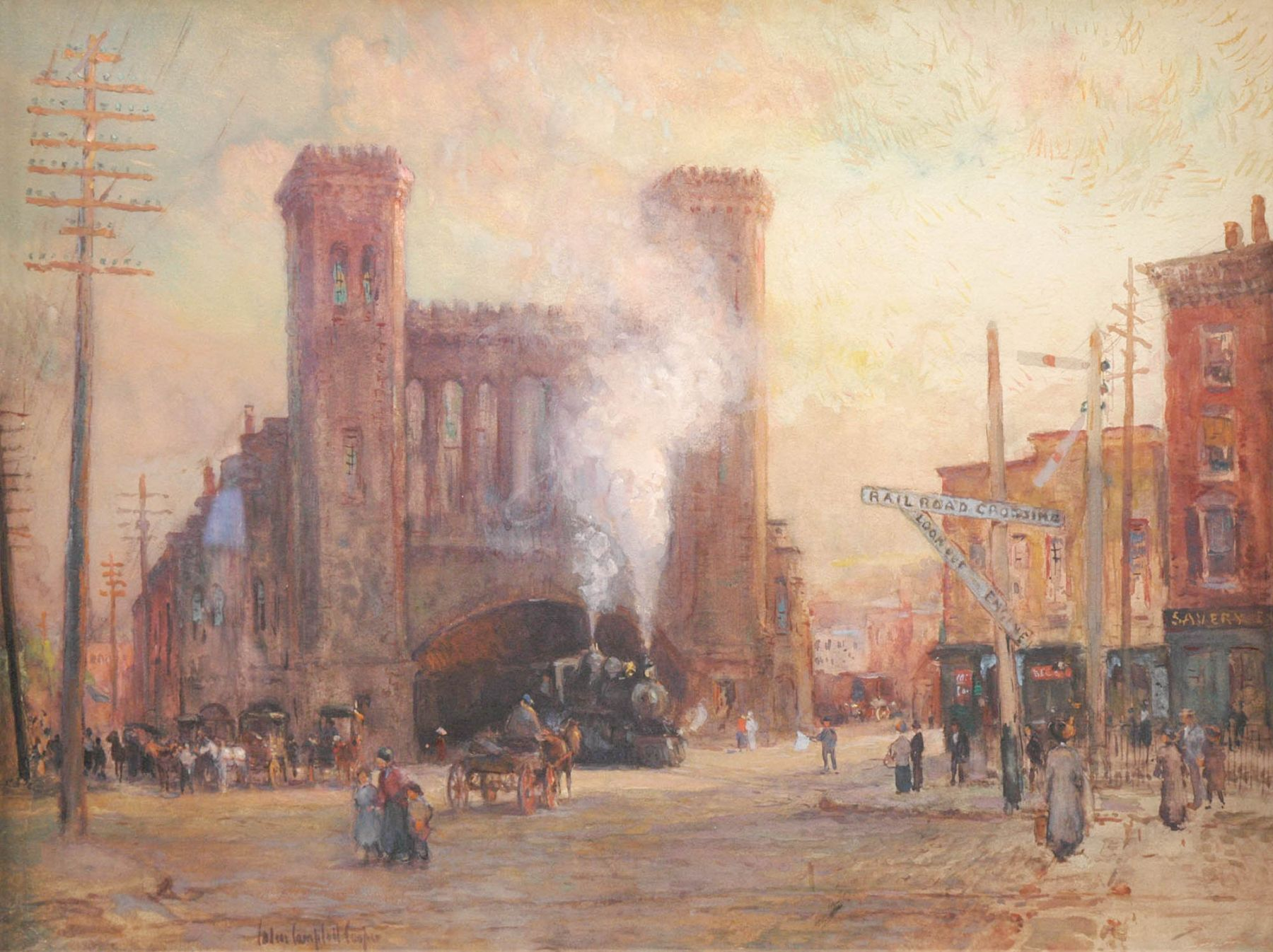 Colin Campbell Cooper, The Train Round House, Salem, Massachusetts, c 1910
