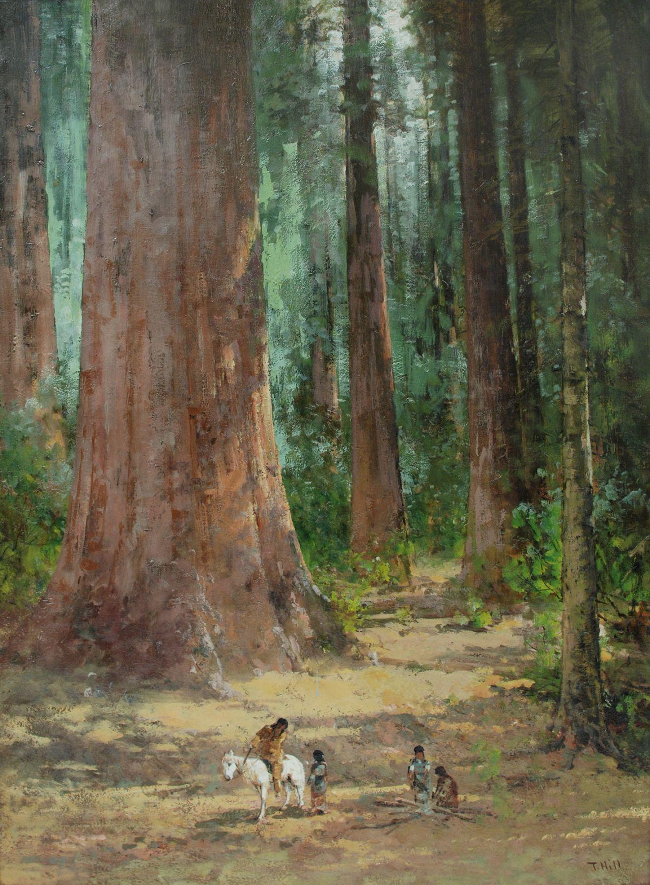 THOMAS HILL (1829-1908), Indian on Horseback Amongst Sequoias