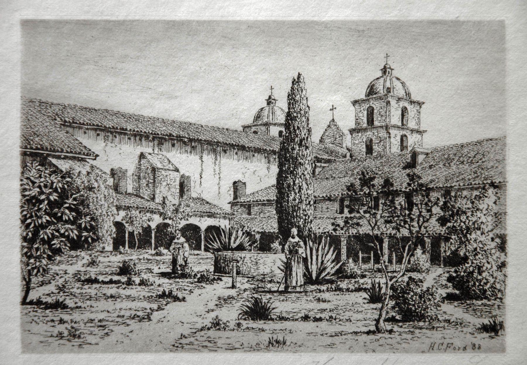 Henry Chapman Ford, Santa Barbara Mission Courtyard