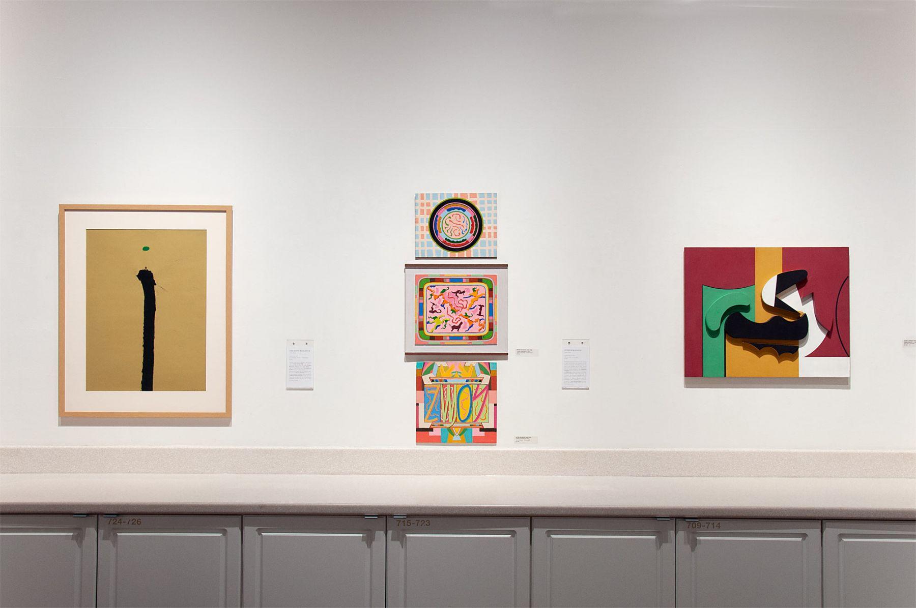 Installation photograph of CALIFORNIA BAUHAUS with Emerson Woelffer, Peter Krasnow, and Sidney Gordin