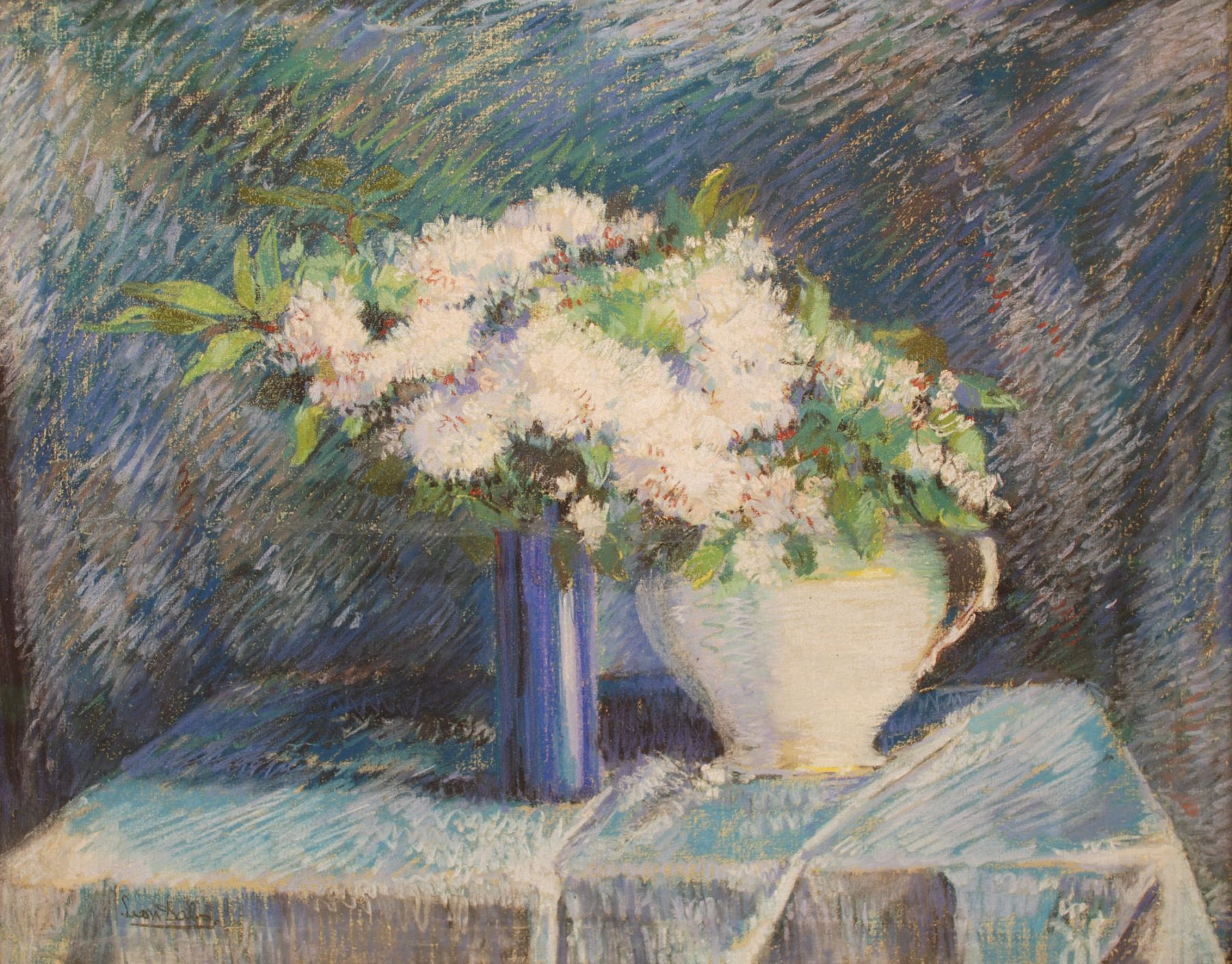 "LEON DABO (1864-1960)   Inventory ID 155125  Flowers in Blue and White Vases, 1899 23.25 x 29.25 inches  |  Pastel on linen Signed lower left  Exhibited The Summer Impressionists, 2014; Leon Dabo: Toutes Les Fleurs, 2012;   Published in Artist's of Michigan from the Nineteenth Century,"" Muskegon Museum of Art, 1987, p. 103.  This painting traveled to museums throughout the State.  Published The Pastels of Leon Dabo, pages 7 and 12 and 48. ""Artist's of Michigan from the Nineteenth Century,"" page 103."