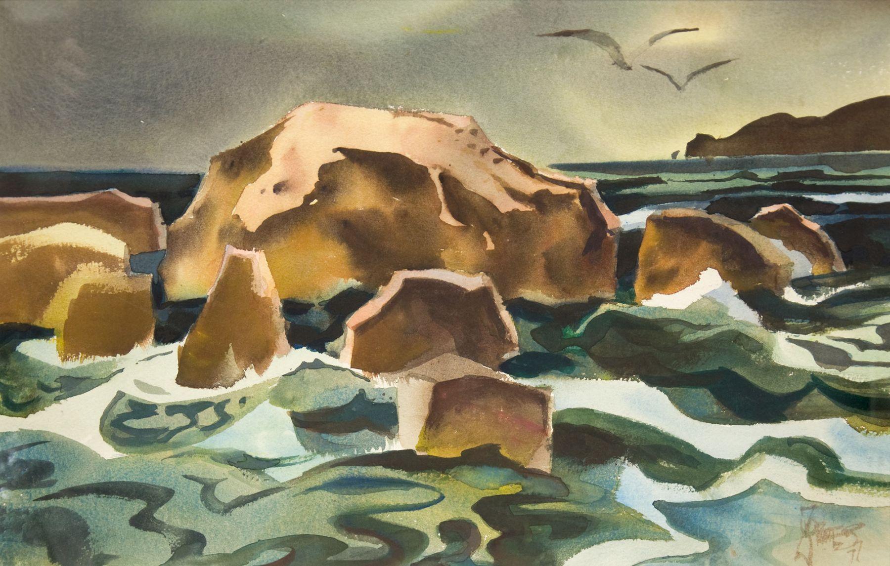 MILFORD ZORNES (1908-2008), Mukunookiki Rock, 1977