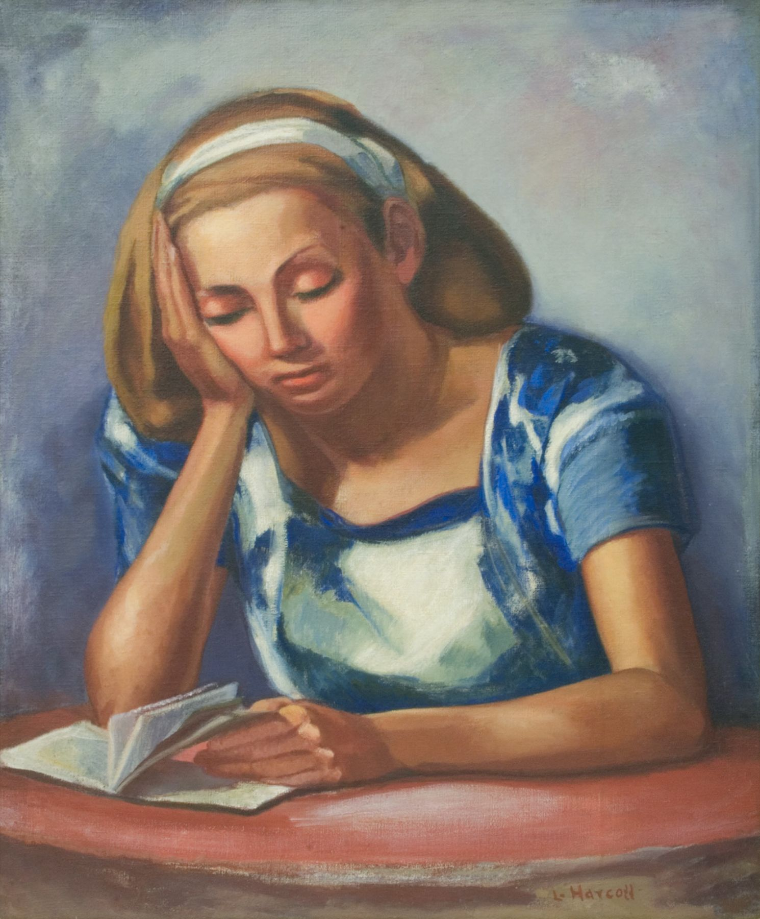 LYLA HARCOFF (1883-1956), Woman Reading, c. 1930s