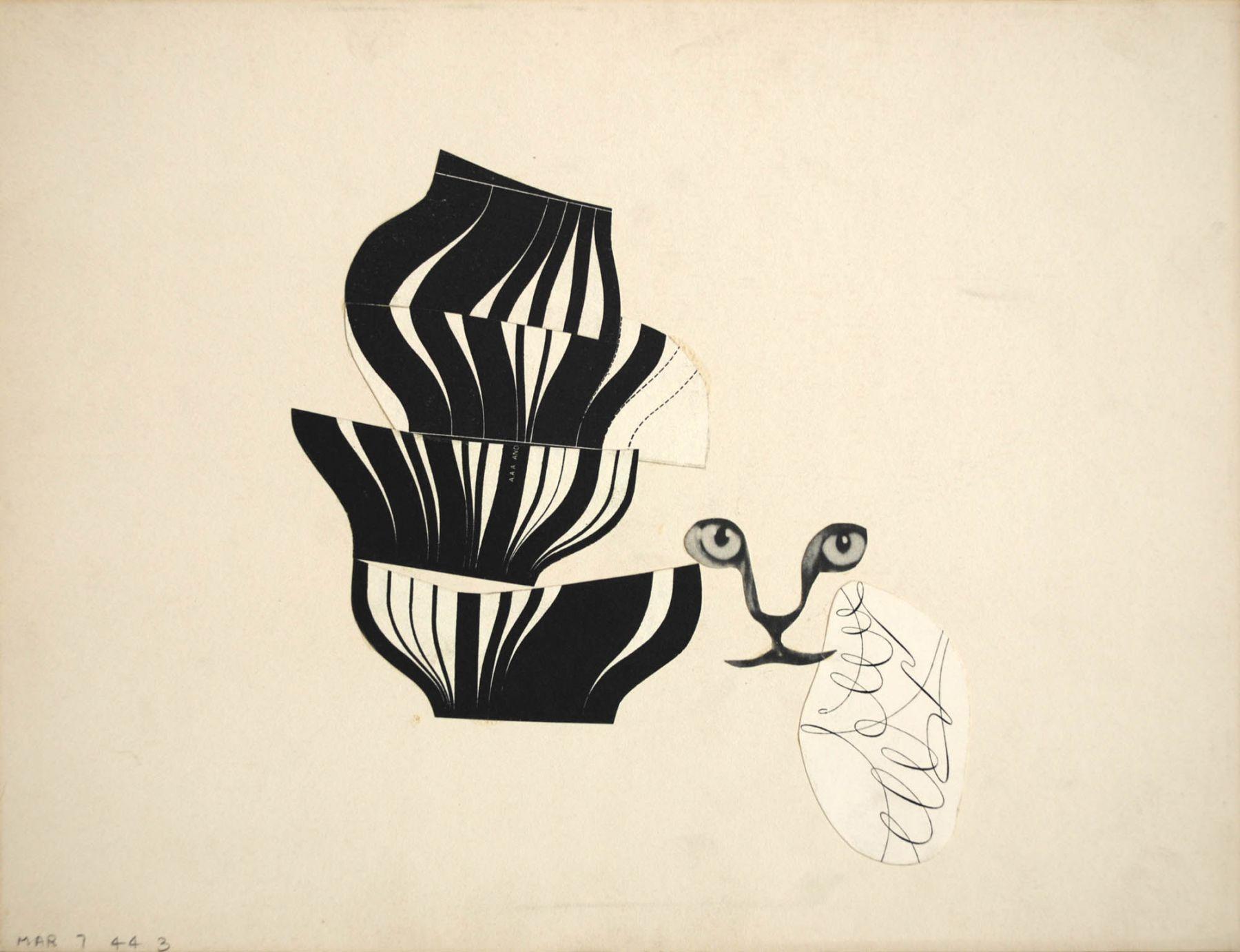 Sidney Gordin (1918-1996), Constructivist Collage #3, March 7, 1944