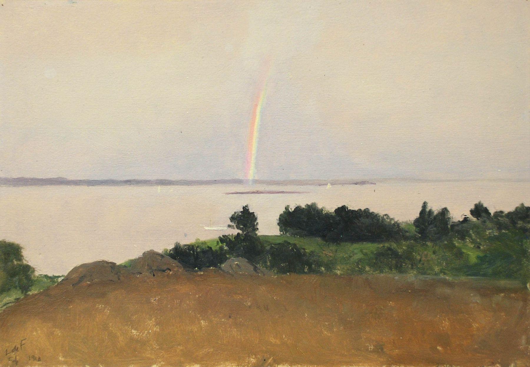 Lockwood De Forest, Carmel Bay Pebble Beach Overlook, with Rainbow and Sailboats (Monterey), September 1910