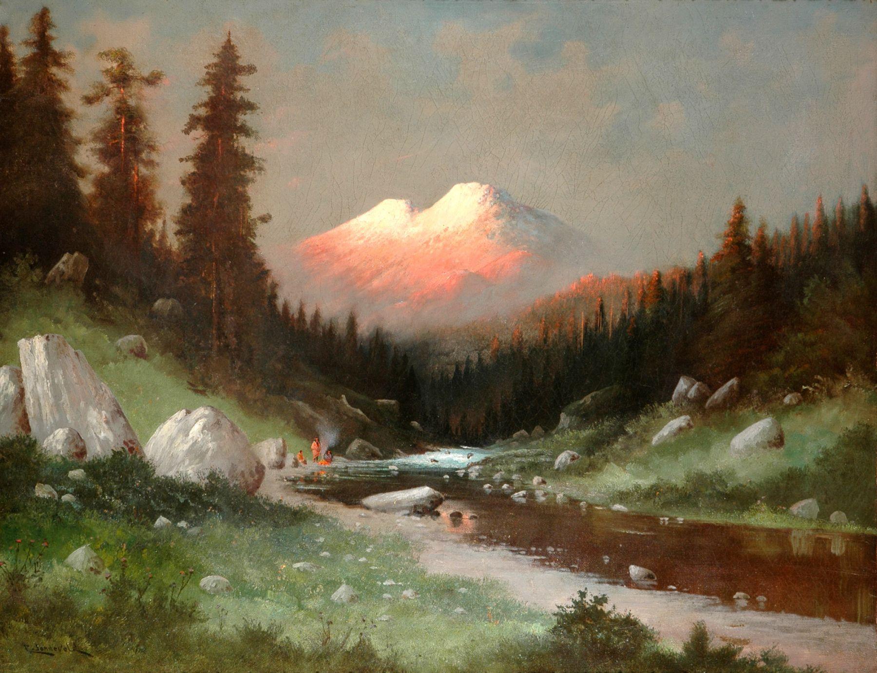 CARL HENRIK JONNEVOLD (1856-1955), Indian Encampment Along Sacramento River Viewing Mt Shasta & Shastina, c. late 1880s