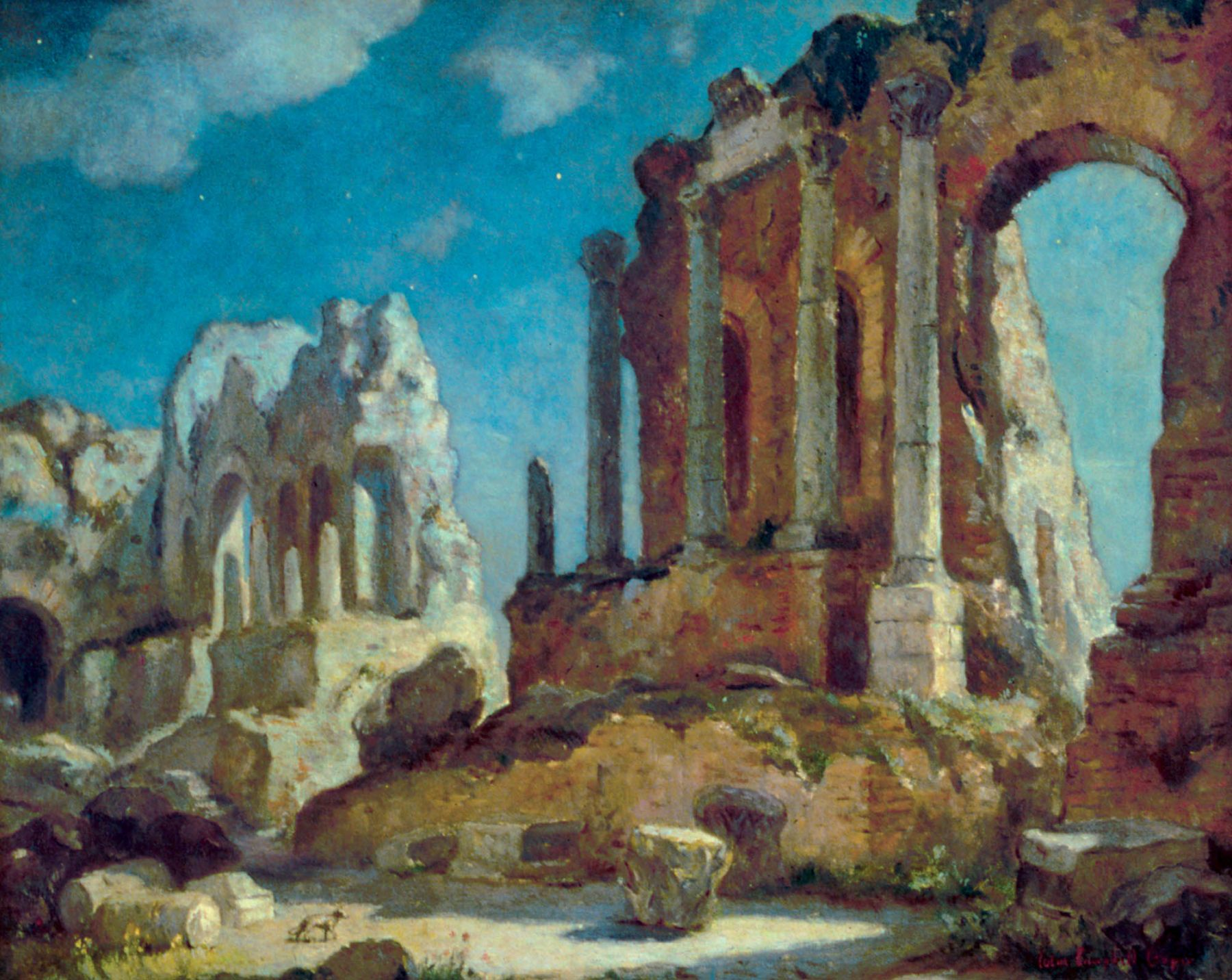 Colin Campbell Cooper, Greco-Roman Theatre at Night, Taoromina, Sicily, Circa 1910