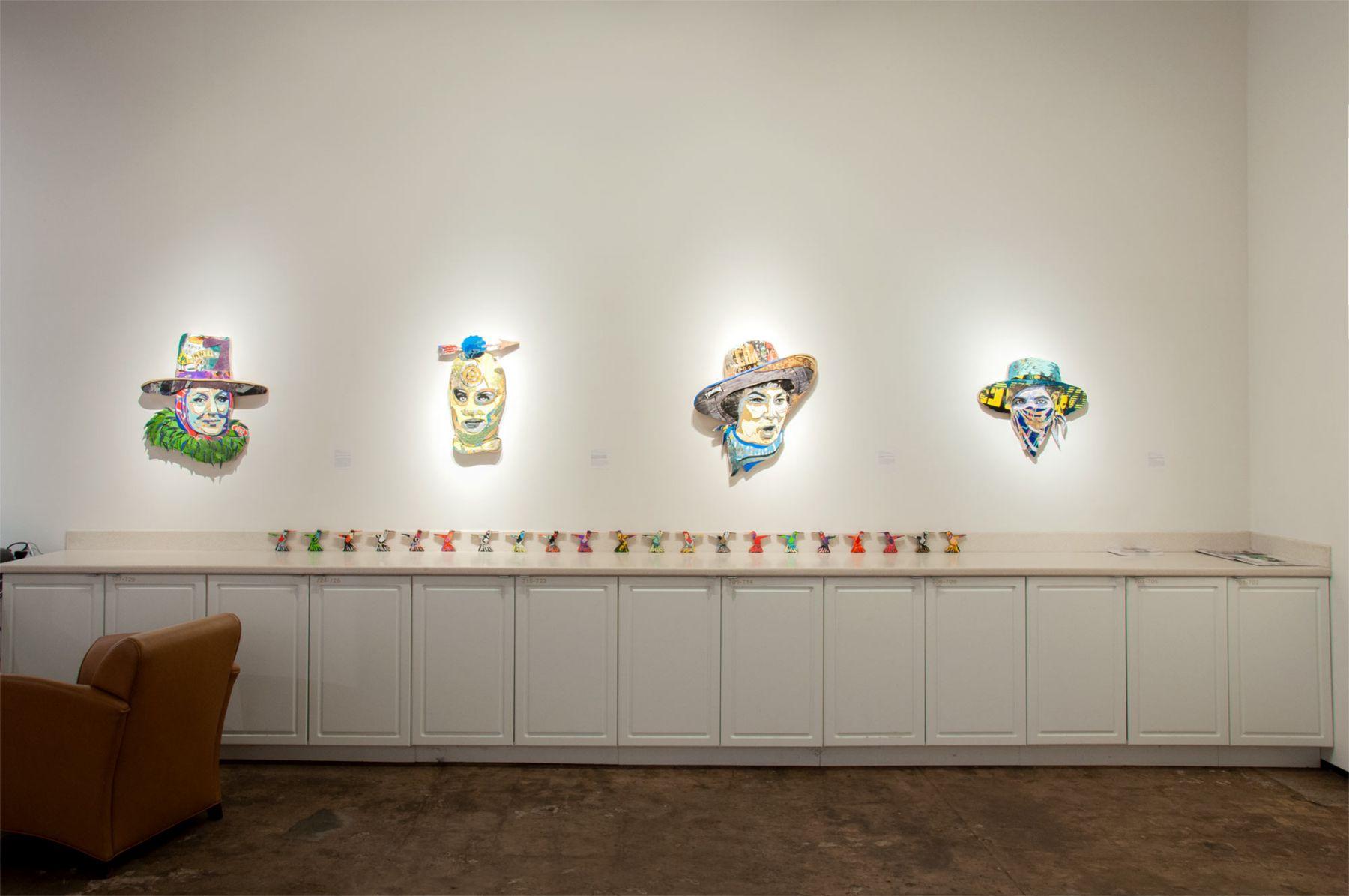 INGA GUZYTE #rebelwomen installation photograph, Germaine Greer, Pussy Riot, Bella Abzug, Malala