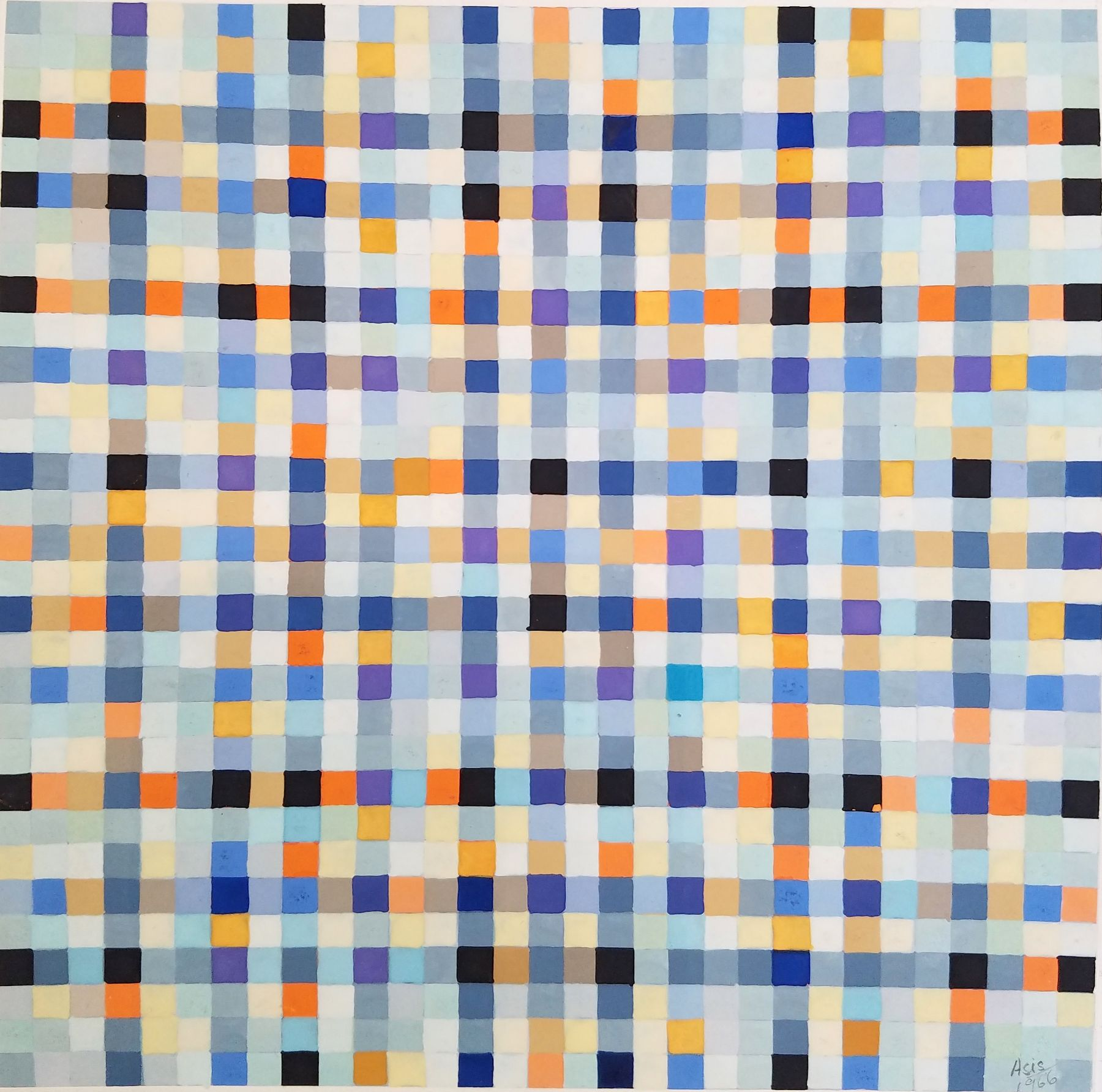 Antonio Asis,Untitled from the series Chromatisme Quadrillé Polychrome, 1966, Gouache on paper,11 3/4 x 8 3/8 in. (29.8 x 21.2 cm.)