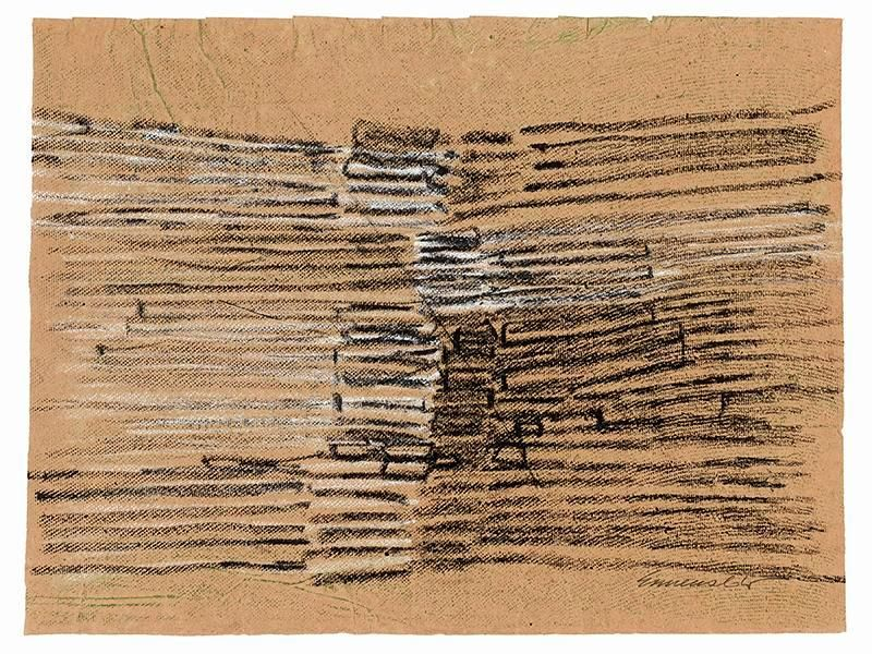 "Sérvulo Esmeraldo, Untitled, 1966. Oil pastel on paper, 19"" x 14 3/4"" / 48.2 x 36.3 cm"