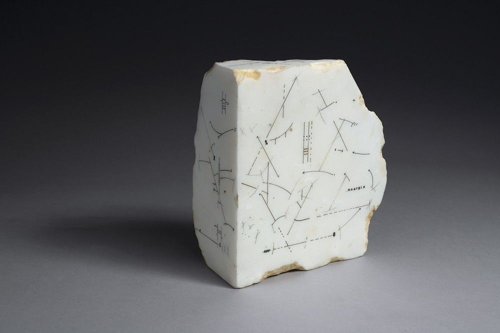 Untitled, 1989, Drawing on marble, 7 5/8 x 6 11/16 x 3 5/16 in. (19.5 x 17 x 8.5 cm.)