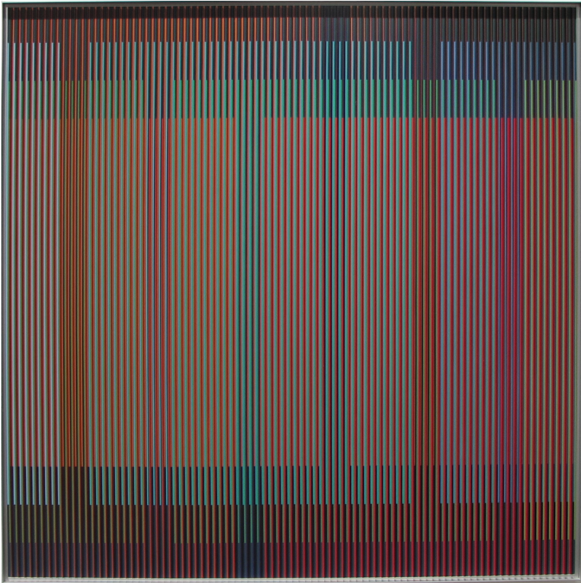 Carlos Cruz-Diez, Physichromie 1772, 2012. Chromography on aluminum, PVC inserts, 39 11/32 x 39 11/32 in.
