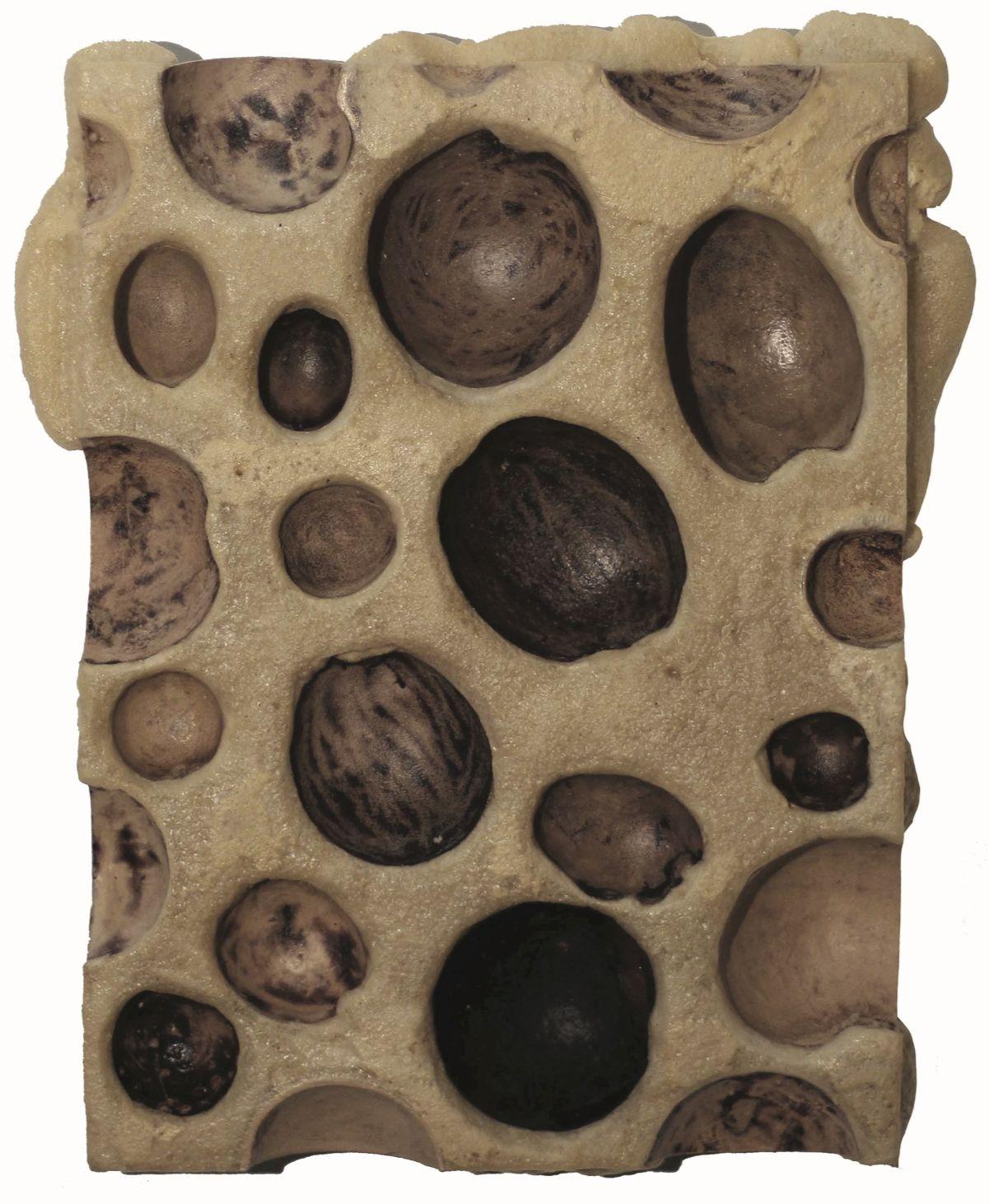 Muégano 24, 2018. Gourd cups, polyurethane foam, acrylic medium, bees wax, 19 11/16 x 16 17/32 x 2 3/4 in. (50 x 42 x 7 cm.)