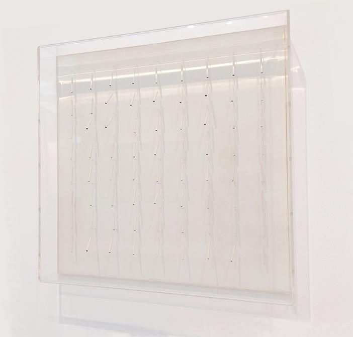 Sérvulo Esmeraldo, Excitable (E7410), 1974. Wooden base, Plexiglas, thread, balsa wood, paint, 19 7/8 x 19 5/8 x 3 1/8 in. / 50.4 x 59.8 x 8 cm.